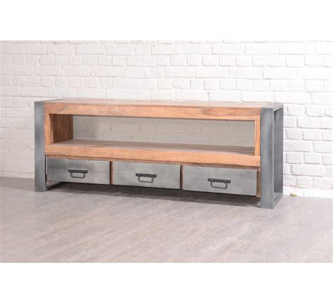 promo canape cuir meuble tv quot industry quot en palissandre et acier 6236