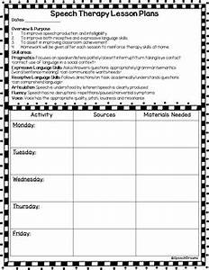 speech therapy lesson plan template weekly or monthly With speech and language lesson plan template