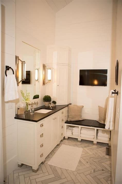 White Washstand with Soapstone Countertop   Transitional