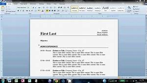 how to write a basic resume in microsoft word 2010 youtube With how to do a resume on word 2010