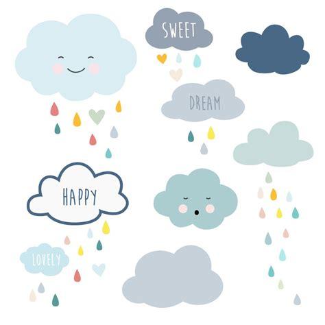 frise chambre bebe frise stickers nuages et gouttes de pluie pour la décoration