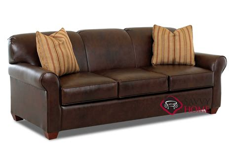 Calgary Leather Stationary Sofa By Savvy Is Fully