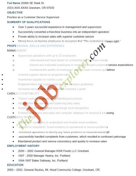 supervisor resume sle supervisor resume template