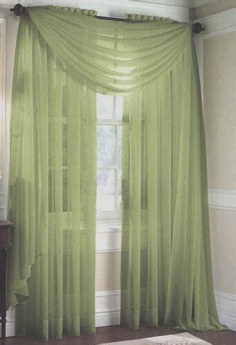 set   sheer voile curtains  long sage green ebay