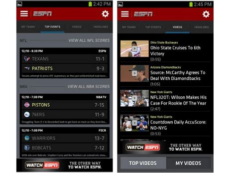 espn android app espn brings new interface to scorecenter for android and ios