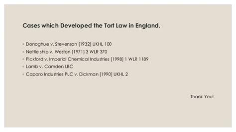 Development Of Tort Law In England