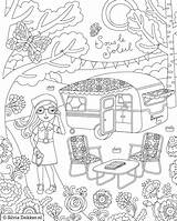 Coloring Camping Pages Sheets Adult Flow Fun Magazine Printable Hiking Theme Caravan Dekker Coloriage Colouring Rocks Rv Woman Silvia Campers sketch template