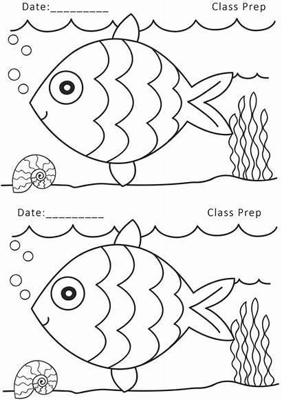 Nursery Drawing Worksheets Pre Printable Coloring Fish