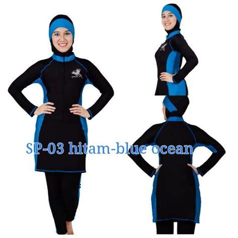 jual baju renang muslimah type sp03 hitam blue di