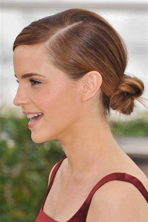 emma watson straight medium brown   highlights bun