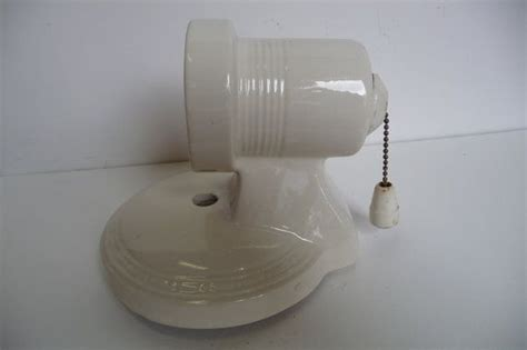 porcelain light fixture bathroom wall sconce with socket pull chain deco