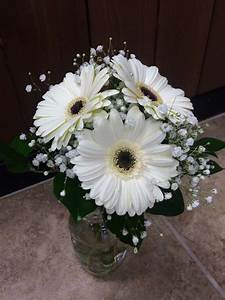 White gerbera daisy bouquet with baby's breath and greens ...