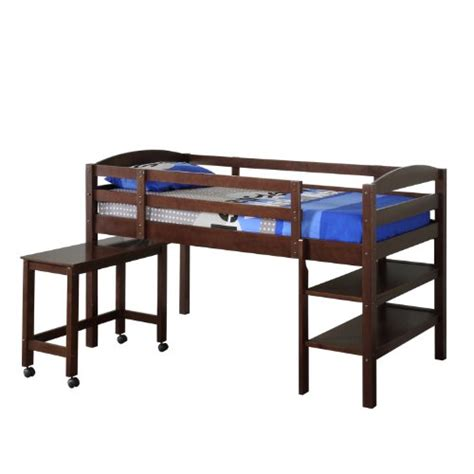 solid wood twin low loft bed w shelves and rolling desk
