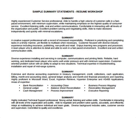 What To Include In A Professional Summary In A Resume by Sle Professional Summary Template 8 Free Documents In Pdf