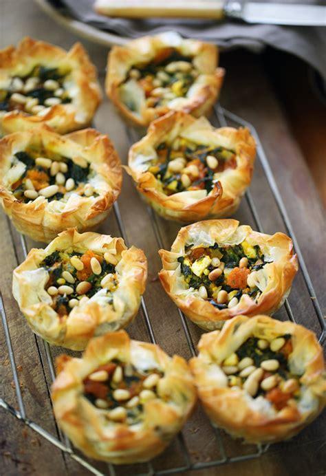 phyllo tartlets  spinach pumpkin feta  pine nuts