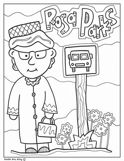 Rosa Parks Coloring History Month Pages Bus