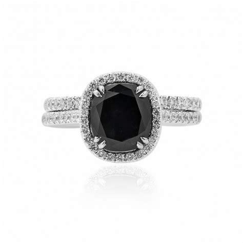 black diamond engagement wedding ring set sku 107815 3