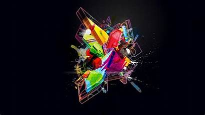 Abstract Colorful 3d Digital Minimalism Glowing Geometry