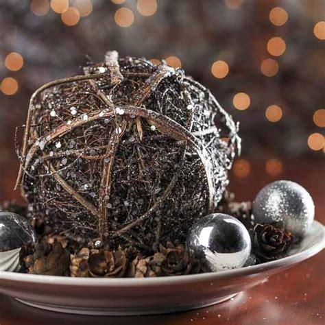 large glittered rattan ball table decor christmas