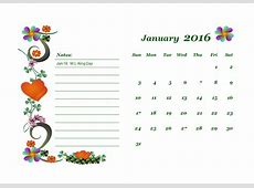 2016 Monthly Calendar Template 02 Free Printable Templates