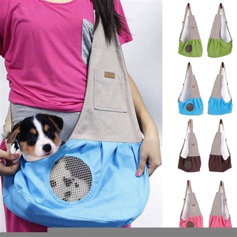 pet travel carrier breathable canvas sling bag puppy soft
