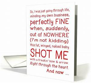 Funny Valentine's Day card, cupid shot me, typography love ...