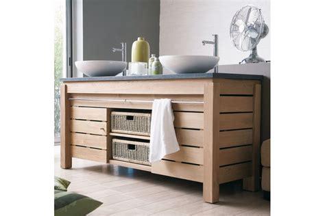 meuble 2 vasques en teck massif 165 cm avec plan de toilette en ou en teck 2 portes