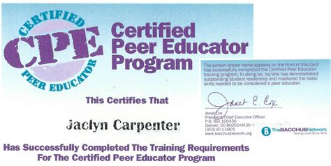 Peer Health Educator Resume by Certifications Carpenter