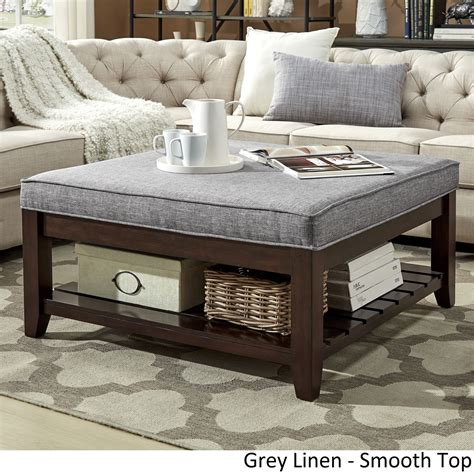 Lennon Espresso Planked Storage Ottoman Coffee Table by ...