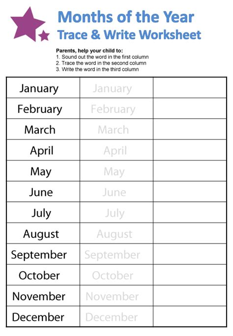 months of the year worksheets english learners