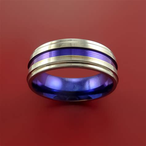 titanium ring  anodized inlay  interior anodized
