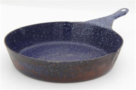 vintage camp cookware blue speckled graniteware enamel ware cast iron skillet frying pan