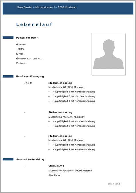 Lebenslauf Vorlage Einfach by Kostenlose Lebenslauf Muster Und Vorlagen F 252 R Deine