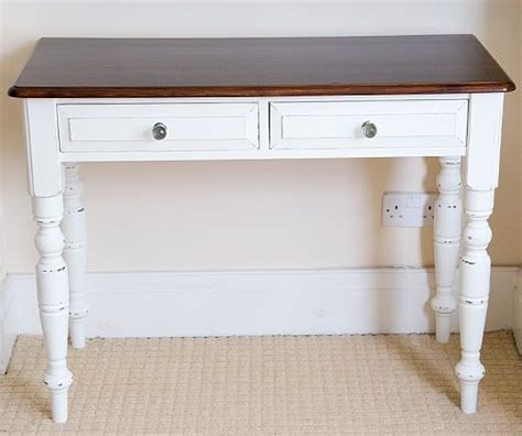 white shabby chic desk shabby chic desk white paint with wood top 2 drawers