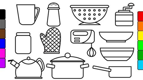unlock kitchen tools coloring pages learn colors  kids