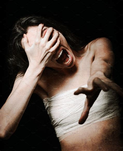 horror terrible screaming woman high quality people