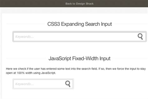 how to code an expanding html5 css3 search input field