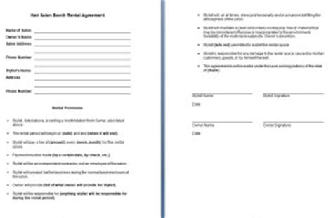 hair salon booth rental agreement contract agreements