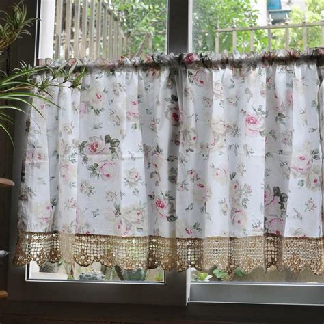 french country floral rose cafe kitchen curtain  ebay