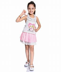 Dora Lt Grey u0026 Neon Color Tops u0026 Skirts Sets For Kids ...