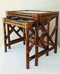 rattan end tables Vintage Bamboo Rattan and Glass Nesting Tables End Table