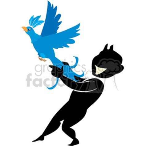 royalty  cartoon man holding  bird  flying