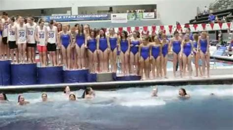 carmel girls swim team celebrates  dip   pool