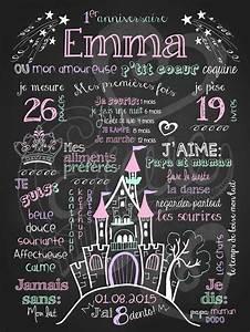 affiche personnalisee anniversaire petite princesse o la With affiche chambre bébé avec bouquet anniversaire
