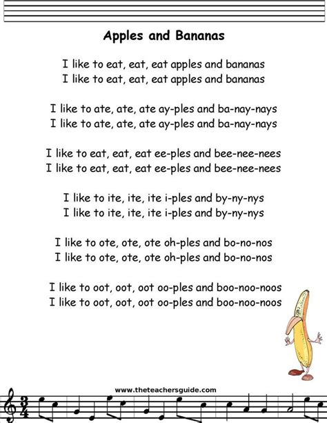 apples and bananas lyrics printout songs canciones 660 | 0db74a1678879a9e1072978536878aad