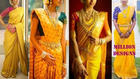 pink blouse yellow kanchipuram sarees and blouse match color