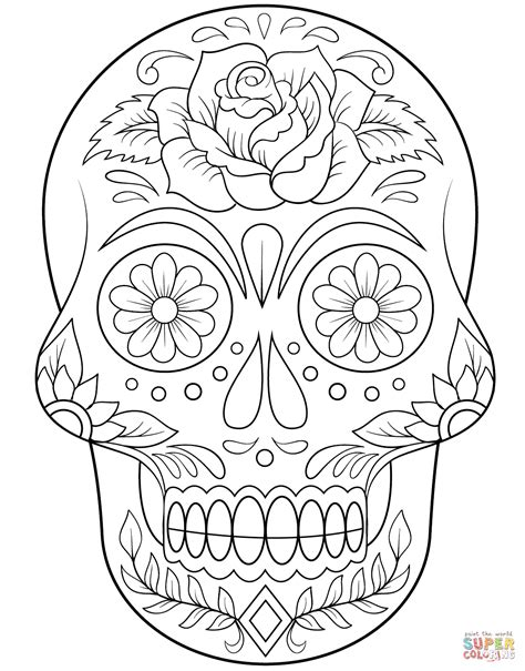 flower sugar skull coloring pages coloring pages