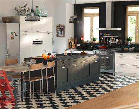 meuble de cuisine kadral blanc et noir castorama