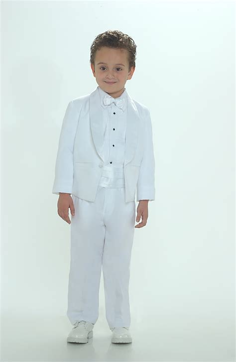 TT_4002W - Boys Suit Style Tuxedo WHITE COLOR - Boys First Holy Communion Suits - Flower Girl ...