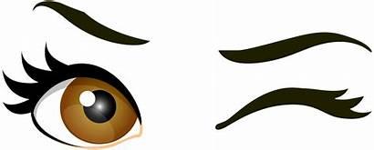Eyes Clipart Winking Wink Clip Brown Cartoon